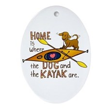 Dog and Kayak Ornament (Oval)