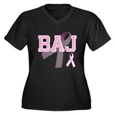 BAJ initials, Pink Ribbon, Women's Plus Size V-Nec
