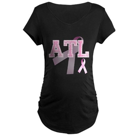 ATL initials, Pink Ribbon, Maternity Dark T-Shirt