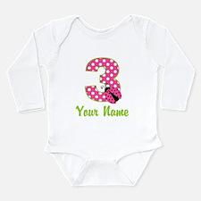 3rd Birthday Ladybug Pink Long Sleeve Infant Bodys