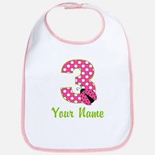 3rd Birthday Ladybug Pink Bib