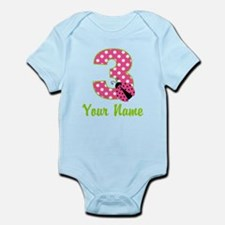 3rd Birthday Ladybug Pink Infant Bodysuit