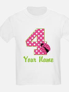 4th Birthday Ladybug Pink T-Shirt