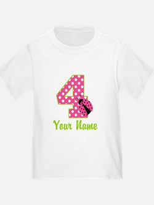 4th Birthday Ladybug Pink T