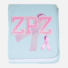 ZPZ initials, Pink Ribbon, baby blanket