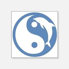 "Dolphin Yin Yang Square Sticker 3"" x 3"""