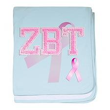 ZBT initials, Pink Ribbon, baby blanket