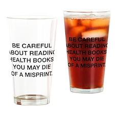 Careful Reading Health Books Drinking Glass
