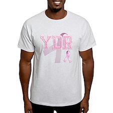 YDR initials, Pink Ribbon, T-Shirt