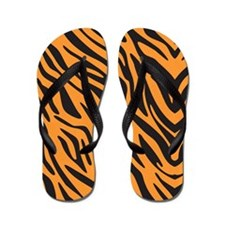 Orange Zebra Flip Flops