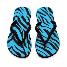 Blue Zebra Flip Flops