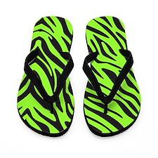 Green Zebra Flip Flops
