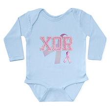XOR initials, Pink Ribbon, Long Sleeve Infant Body