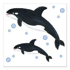 "Killer Orca Whales Square Car Magnet 3"" x 3"""
