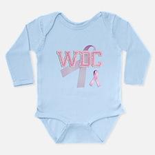 WDC initials, Pink Ribbon, Long Sleeve Infant Body