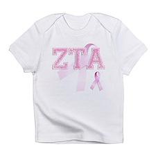 ZTA initials, Pink Ribbon, Infant T-Shirt
