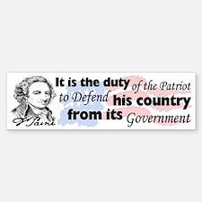 """""""Duty Of The Patriot"""" Bumper Bumper Sticker"""