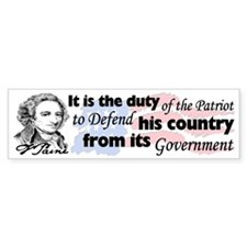 """Duty Of The Patriot"" Bumper Sticker"
