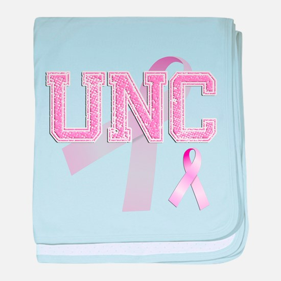 UNC initials, Pink Ribbon, baby blanket