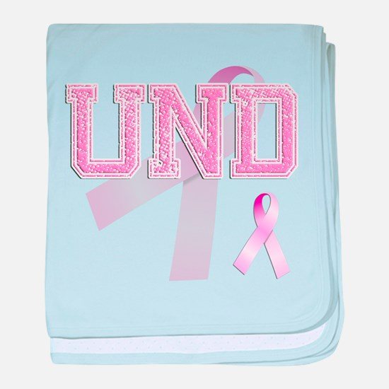 UND initials, Pink Ribbon, baby blanket