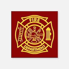 """Firefighter Maltese Cross Square Sticker 3"""" x 3"""""""