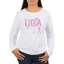 UGA initials, Pink Ribbon, T-Shirt