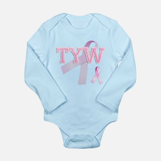 TYW initials, Pink Ribbon, Long Sleeve Infant Body