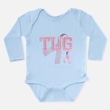 TUG initials, Pink Ribbon, Long Sleeve Infant Body