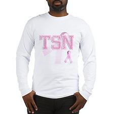 TSN initials, Pink Ribbon, Long Sleeve T-Shirt
