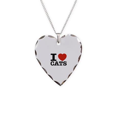 I Love Cats Necklace Heart Charm