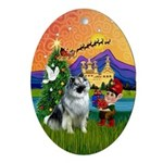 Keeshond Fantasy Xmas Oval Ornament