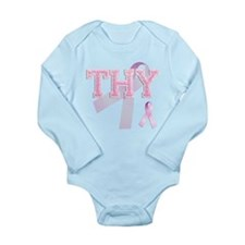 THY initials, Pink Ribbon, Onesie Romper Suit