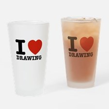 I Love Drawing Drinking Glass