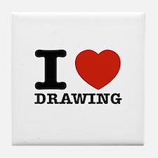 I Love Drawing Tile Coaster