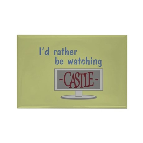 Rather Be Watching Castle Rectangle Magnet