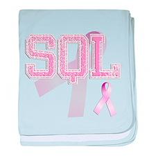 SQL initials, Pink Ribbon, baby blanket