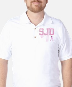 SJD initials, Pink Ribbon, Golf Shirt