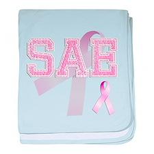 SAE initials, Pink Ribbon, baby blanket