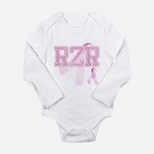 RZR initials, Pink Ribbon, Long Sleeve Infant Body