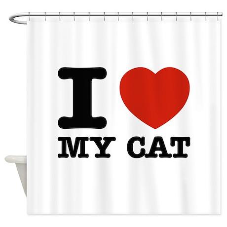I Love My Cat Shower Curtain