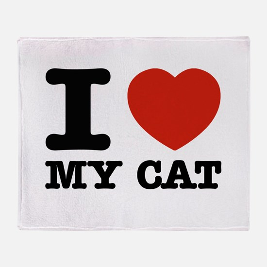 I Love My Cat Throw Blanket