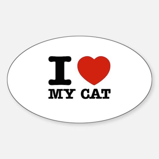 I Love My Cat Sticker (Oval)
