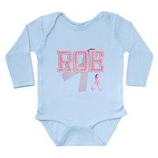 ROE initials, Pink Ribbon, Long Sleeve Infant Body