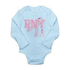 RNY initials, Pink Ribbon, Long Sleeve Infant Body