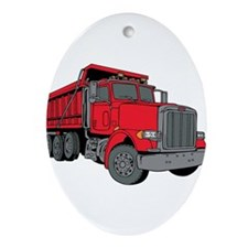 Big Red Dump Truck Ornament (Oval)