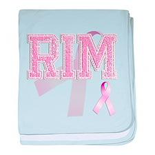 RIM initials, Pink Ribbon, baby blanket