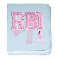 RBI initials, Pink Ribbon, baby blanket