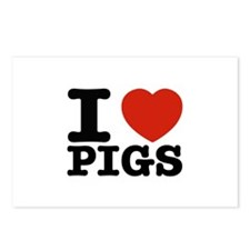 I Love Pigs Postcards (Package of 8)