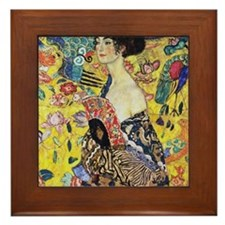 Gustav Klimt Lady With Fan Framed Tile