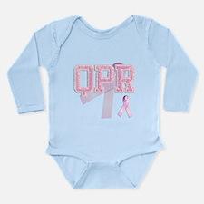 QPR initials, Pink Ribbon, Onesie Romper Suit
